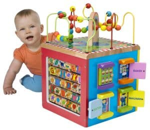 wooden baby toy activity centre