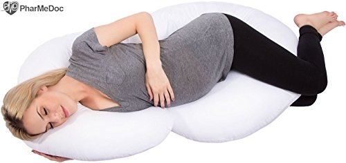 PharMeDoc Total Body Pillow. Nursing, Maternity, Pregnancy and Support Cushion Pillow with Zipper. Excellent Support for Hips, Back, Neck and Tummy. Premium Foam Material.