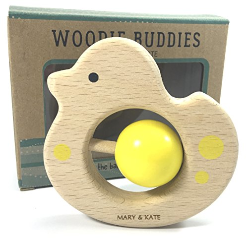 Wooden Baby Toy - Montessori Inspired Sensory Teether, Organic, Vegan, BPA-Free (Debbie the Duck)