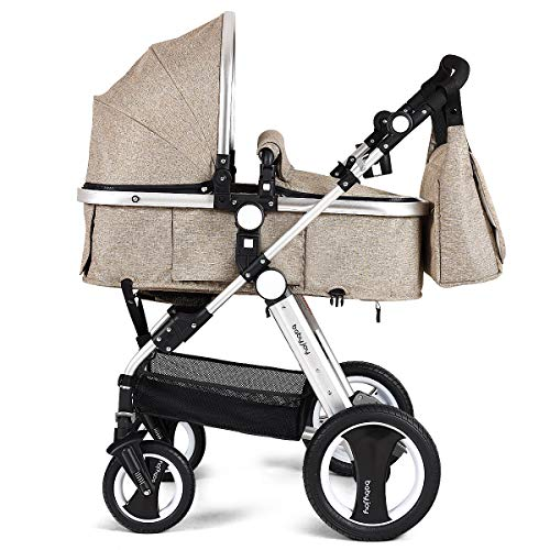 BABY JOY Baby Stroller, Aluminum 2-in-1 Foldable Toddler Stroller, Convertible Bassinet Reclining Stroller Carriage with Cup Holder & Foot Cover & Diaper Bag, Khaki