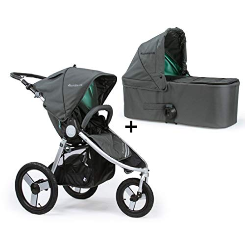 Bumbleride Speed Stroller with Bassinet in Dawn Grey and Mint