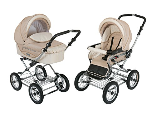 Roan Kortina Classic 2-in-1 Pram Stroller with Bassinet for Newborn Baby and Toddler Reclining Seat with Five Point Safety System UV Proof Canopy and Stainless Steel Storage Basket (Sand Beach)
