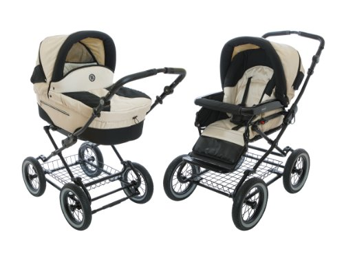 Roan Rocco Classic Pram Stroller 2-in-1 with Bassinet and Seat Unit - Pearl
